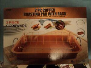 2pc.Copper Roasting Pan With Rack NIB