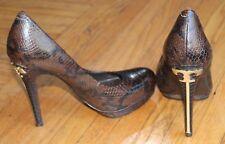 Womens Tory Burch Brown Gold SnakeSkin High Heel Size US 8 Court Shoes Platform
