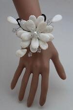 Women Bracelet White Beads Big Flower Charm Elastic Cuff Band Fashion Jewelry