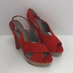 Kurt Geiger Platform Suede Sandals UK 6 Red Slingback High Block Heels 251417