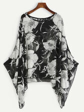Plus Casual Batwing Sleeve Shirt Poncho Blouse Florals Black Chiffon Kaftan Tops