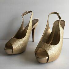 "Michaelangelo ""Vice"" Gold Spark Slingback Open Toe Platform High Heel Pumps 10M"