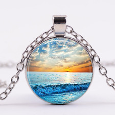 Beach Jewelry, Nautical Jewelry, Ocean Jewelry, Sunset Necklace,Chain Pendant