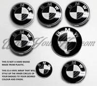 Noir+Blanc Carbone Fibre Badge Coins Set BMW M3 3 Série E90 E91 E92 E93 F20
