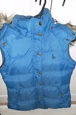 Genuine Jack Wills JW Royal Blue Padded Faux Fur Hood Gilet Body Warmer UK 8
