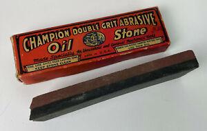 vintage CHAMPION COMBINATION OIL-STONE knife hone sharpener