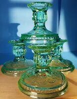 Vintage~{4}~Lime green depression glass candle holders **MINT** Hobnail Rim