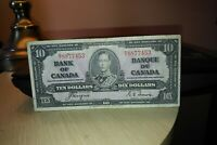 1937 $10 Dollar Bank of Canada Banknote BT8877453 Crisp
