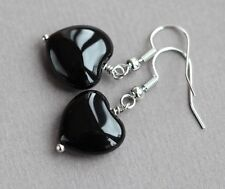 BLACK AGATE HEART DROP EARRINGS ~ SILVER PLATED