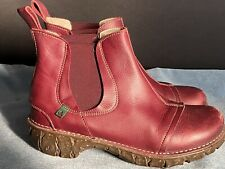 El Naturalista Red Leather Premium Womens 40 Ankle Fashion Boot 9.5 NO INSOLES