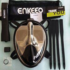 New listing Enkeeo Full Face Snorkel Mask Anti-fog Anti-leak L/XL Black w Camera Mount New
