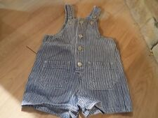 Infant Size 12 Months Class Club Blue White Striped Denim Shortalls Overalls