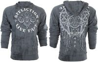 AFFLICTION Men HOODIE Sweatshirt Jacket ROYALE RUST Wings CHARCOAL Biker $78