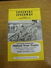 14/10/1972 SPEEDWAY programma: MIDLAND Team Trofeo, Coventry a V Swindon & Coven