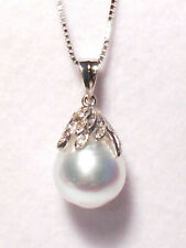 white South Sea pearl pendant,diamonds,solid 14k white gold.(special offer).