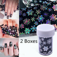 2X Christmas Nail Art Transfer Foils Stickers Snowflake Holographic DIY Tips Kit