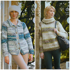 KNITTING PATTERN Ladies Easy Knit Jacket & Polo Neck Jumper Super Chunky 4291