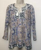 Lucky Brand XS Boho Top Beige & Blue 3/4 Sleeve Tassle Tie Scoop Neck Shirt