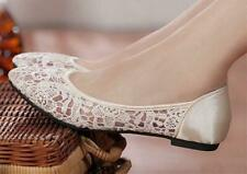 Ivory blue silk satin Wedding flat ballet lace Bride Bridesmaid shoes sz 5-9.5