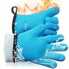 LoveU. Oven Mitts - Silicone and Cotton Double-layer Heat Resistant Gloves Si