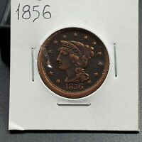 1856 1c Liberty Head Large Cent Penny US Copper Choice VF / XF Nice Coin