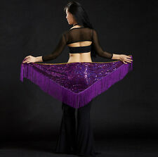 Womens Fringe Sequins Belly Dance Belt Indian Mermaid Dancing Hip Scarf Costumes