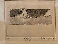 """D. Scheiman 1975 Framed Drypoint Etching  """"Right Eye"""" Artist Proof Surrealism"""