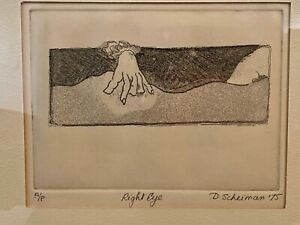 "D. Scheiman 1975 Framed Drypoint Etching  ""Right Eye"" Artist Proof Surrealism"