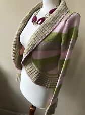 Per Una For M&S Size Small Fawn Pink & Green Chunky Long Sleeved Cardigan