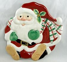 Fitz & Floyd Christmas Santa Dessert Canape Plate or Hang on Wall 2063/125 Plaid