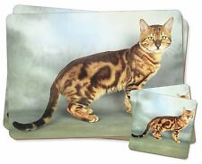 Bengal Gold Marble Cat Twin 2x Placemats+2x Coasters Set in Gift Box, AC-89PC