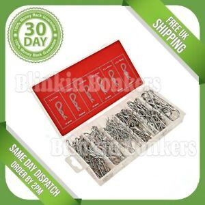 150PC R CLIPS CLEVIS RETAINING SPRING HAIR PIN HITCH LYNCH COTTER ASSORTMENT KIT