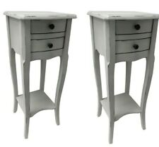 Pair Rubbed Grey 2 Drawer Bedside Chest Bedroom French Furniture Shabby Chic