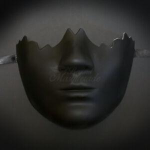 All Black Finish Broken Face Half Mask Unisex Mask One Size Fits Most