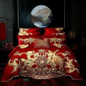 Red Luxury Gold Phoenix Loong Embroidery Chinese Wedding Cotton Bedding Set NEW