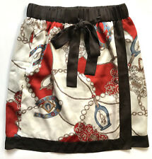 Kimono Style Wrap Skirt Above-Knee Bow Fully Lined Business Work Made in Japan