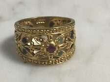 Jewelled 24K over 925 Sterling Silver Band Ring Ruby Emerald Open Work Sz 6