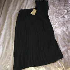 £195 Allsaints Black Satin Pleated One Shoulder Maia Dress Cocktail Evening 10