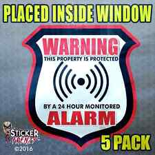 5 Pk INSIDE WARNING ALARM Shield RED Stickers Security System Decal Warning #034