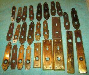 LOT OF 25  OLD METAL BACKPLATES DOOR PLATE KEY HOLE COVER ESCUTCHEON HARDWARE
