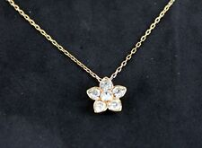 Chain Necklace with Crystal Pendant Authentic Swarovski Logo Pink Gold Tone