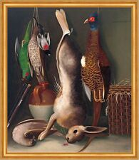 Still Life with Game william Buelow Gould chasse butin oiseaux lapin mort B a2 03486
