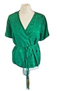 Oliver Bonas Ladies Green Scenic Wrap Short Sleeve Top Size 10
