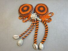 Buckskin Backing - Free Shipping Orange/Brown Beaded Hair Ties With