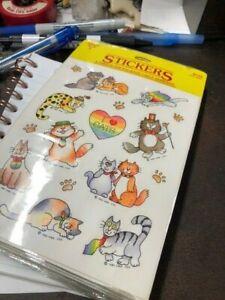 NOS-NEW SEALED PACK Vintage Hallmark I Love Cats Sticker Sheet 1983 Kittens P6