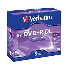 Verbatim 8x DVD+R DL Dual Layer 8.5GB - 5 Discs in Jewel Cases (43541)