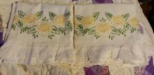 Vintage white full size Cotton embroidery floral set eyelet edged