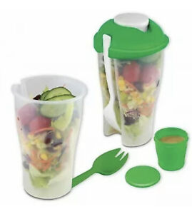Travel Salad / Fruit Container Set 2pc / Meals & Lunch On The Go - BPA Free