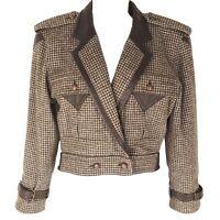 Escada Jacket Small 34 Vintage 80s Wool Alpaca Leather Houndstooth Tweed Womens
