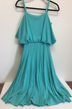 Vintage Lilli Diamond Of California Dress Size 6 Aqua Spaghetti Straps     HH18
